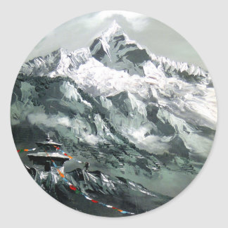 Panoramic View Of Everest Base Camp Classic Round Sticker