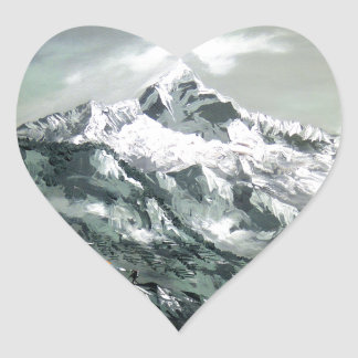 Panoramic View Of Everest Base Camp Heart Sticker