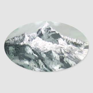 Panoramic View Of Everest Base Camp Oval Sticker