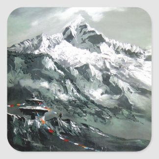 Panoramic View Of Everest Base Camp Square Sticker