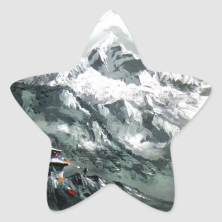 Panoramic View Of Everest Base Camp Star Sticker
