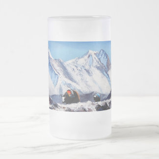 Panoramic View Of Everest Mountain Base Camp Area Frosted Glass Beer Mug