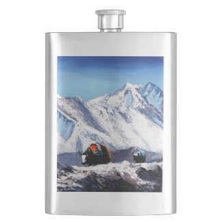 Panoramic View Of Everest Mountain Base Camp Area Hip Flask