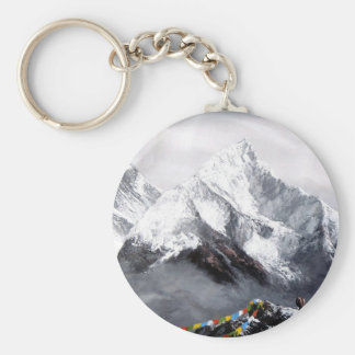 Panoramic View Of Everest Mountain Basic Round Button Key Ring