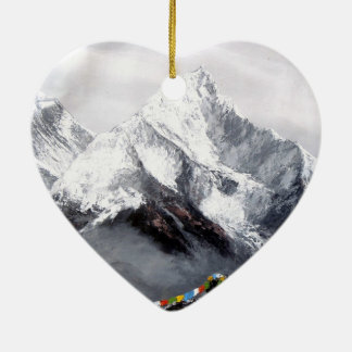 Panoramic View Of Everest Mountain Ceramic Heart Decoration