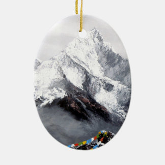 Panoramic View Of Everest Mountain Ceramic Oval Decoration