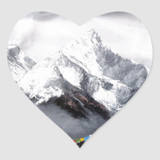 Panoramic View Of Everest Mountain Heart Sticker