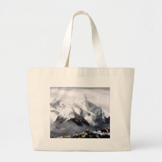 Panoramic View Of Everest Mountain Large Tote Bag