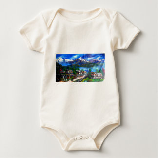 Panoramic View Of Everest Mountain Nepal Baby Bodysuit