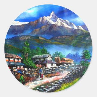 Panoramic View Of Everest Mountain Nepal Classic Round Sticker