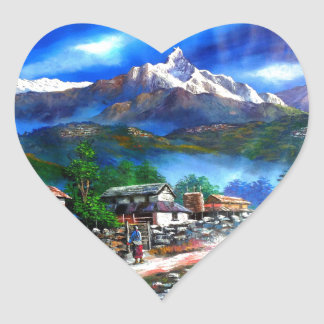 Panoramic View Of Everest Mountain Nepal Heart Sticker