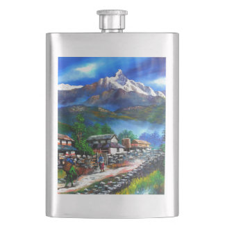 Panoramic View Of Everest Mountain Nepal Hip Flask