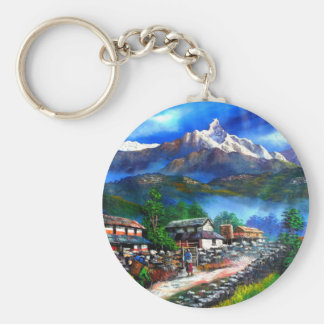 Panoramic View Of Everest Mountain Nepal Key Ring