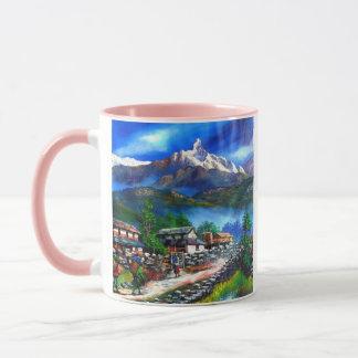 Panoramic View Of Everest Mountain Nepal Mug