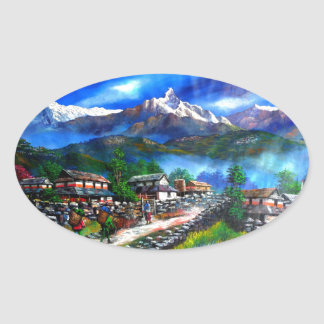 Panoramic View Of Everest Mountain Nepal Oval Sticker