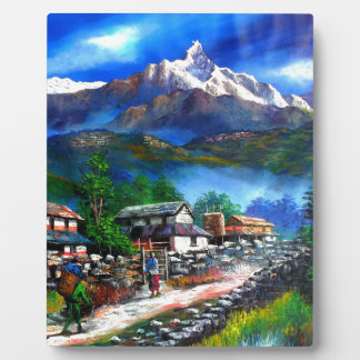 Panoramic View Of Everest Mountain Nepal Plaque