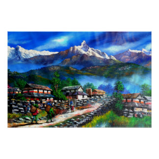 Panoramic View Of Everest Mountain Nepal Poster
