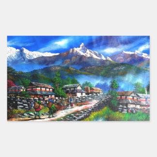 Panoramic View Of Everest Mountain Nepal Rectangular Sticker
