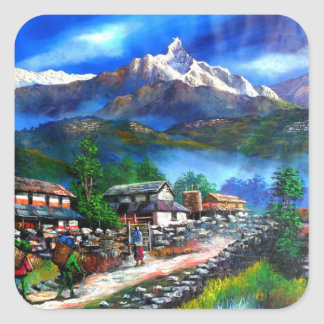 Panoramic View Of Everest Mountain Nepal Square Sticker