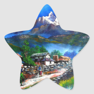 Panoramic View Of Everest Mountain Nepal Star Sticker