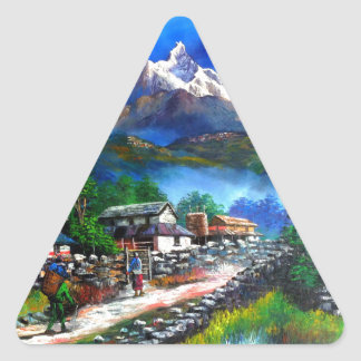 Panoramic View Of Everest Mountain Nepal Triangle Sticker