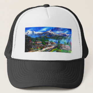 Panoramic View Of Everest Mountain Nepal Trucker Hat