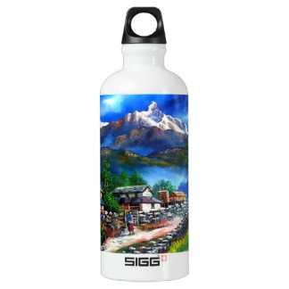 Panoramic View Of Everest Mountain Nepal Water Bottle