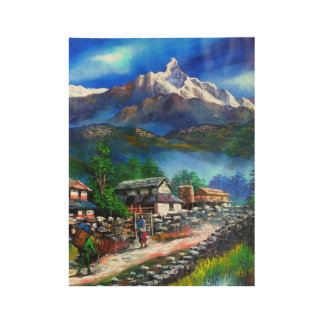Panoramic View Of Everest Mountain Nepal Wood Poster