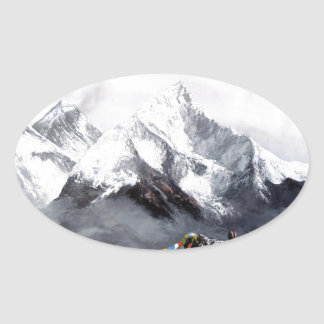 Panoramic View Of Everest Mountain Oval Sticker
