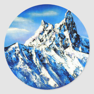 Panoramic View Of Everest Mountain Peak Classic Round Sticker