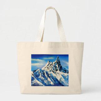 Panoramic View Of Everest Mountain Peak Large Tote Bag