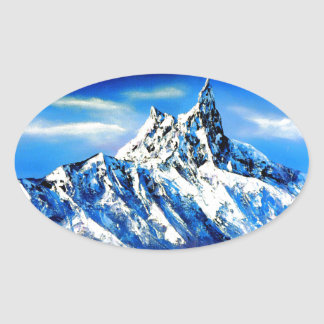 Panoramic View Of Everest Mountain Peak Oval Sticker