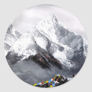 Panoramic View Of Everest Mountain Round Sticker