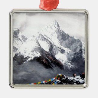 Panoramic View Of Everest Mountain Silver-Colored Square Decoration
