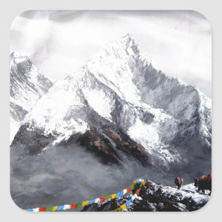 Panoramic View Of Everest Mountain Square Sticker