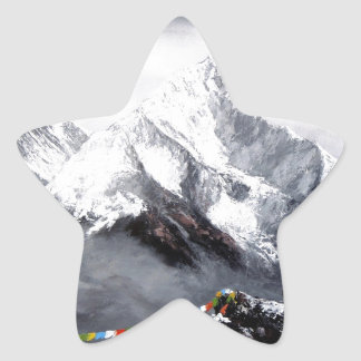 Panoramic View Of Everest Mountain Star Sticker