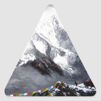 Panoramic View Of Everest Mountain Triangle Sticker