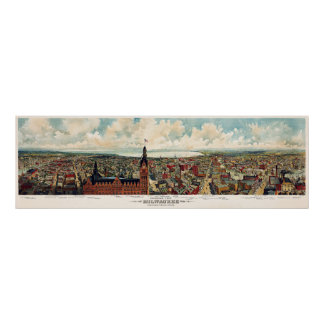 Panoramic View of Milwaukee Wisconsin in 1898 Poster