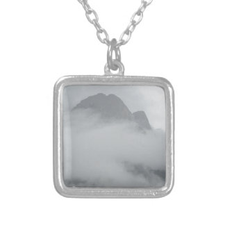Panoramic view of mountains in the fog silver plated necklace