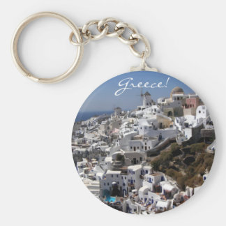 Panoramic view of Oia, Greece Basic Round Button Key Ring