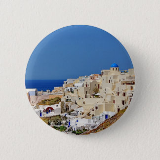 Panoramic view of Santorini 6 Cm Round Badge