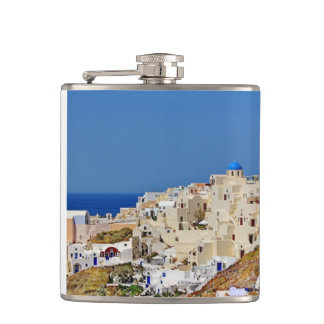 Panoramic view of Santorini Hip Flask