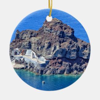 Panoramic view of Santorini Round Ceramic Decoration