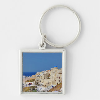 Panoramic view of Santorini Silver-Colored Square Key Ring