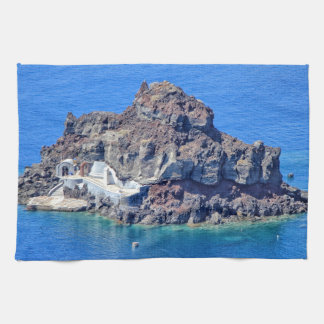 Panoramic view of Santorini Tea Towel