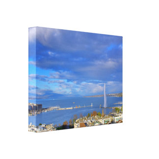 Panoramic view of the Geneva water jet Canvas Print
