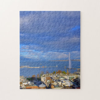 Panoramic view of the Geneva water jet Jigsaw Puzzle