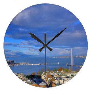 Panoramic view of the Geneva water jet Large Clock