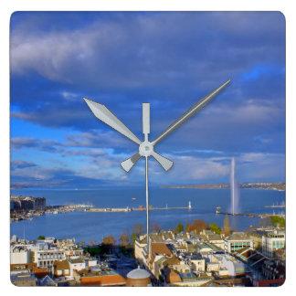 Panoramic view of the Geneva water jet Square Wall Clock