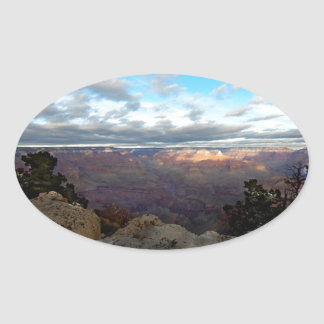 Panoramic view of the Grand Canyon Oval Sticker